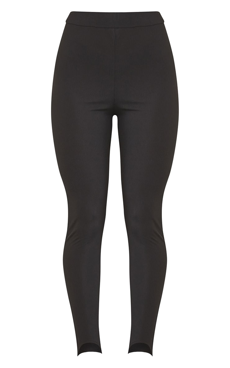 Black Ribbed Stirrup Leggings 5