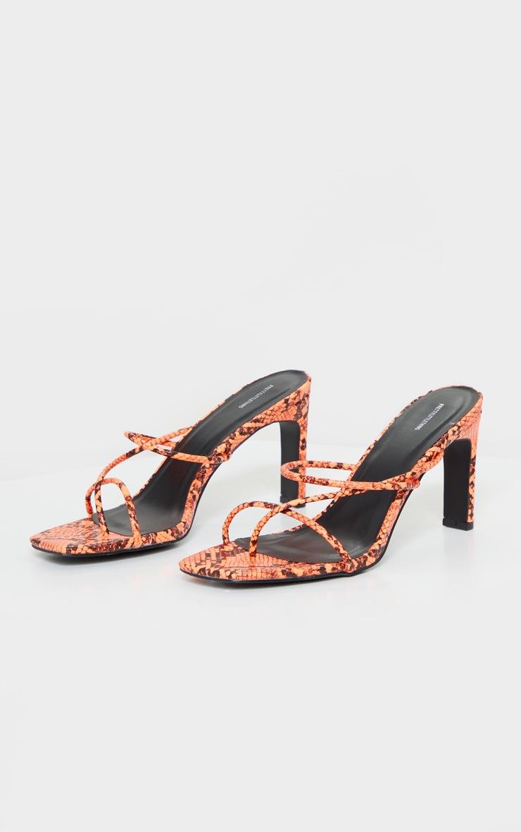 Orange Triple Strap Flat Heel Toe Thong Square Toe Mule 3