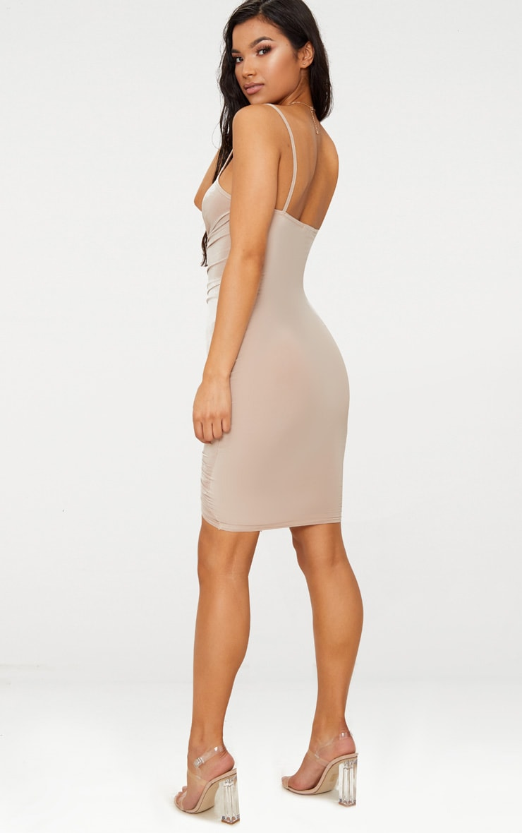 Lucie Nude Strappy Ruched Midi Dress 2