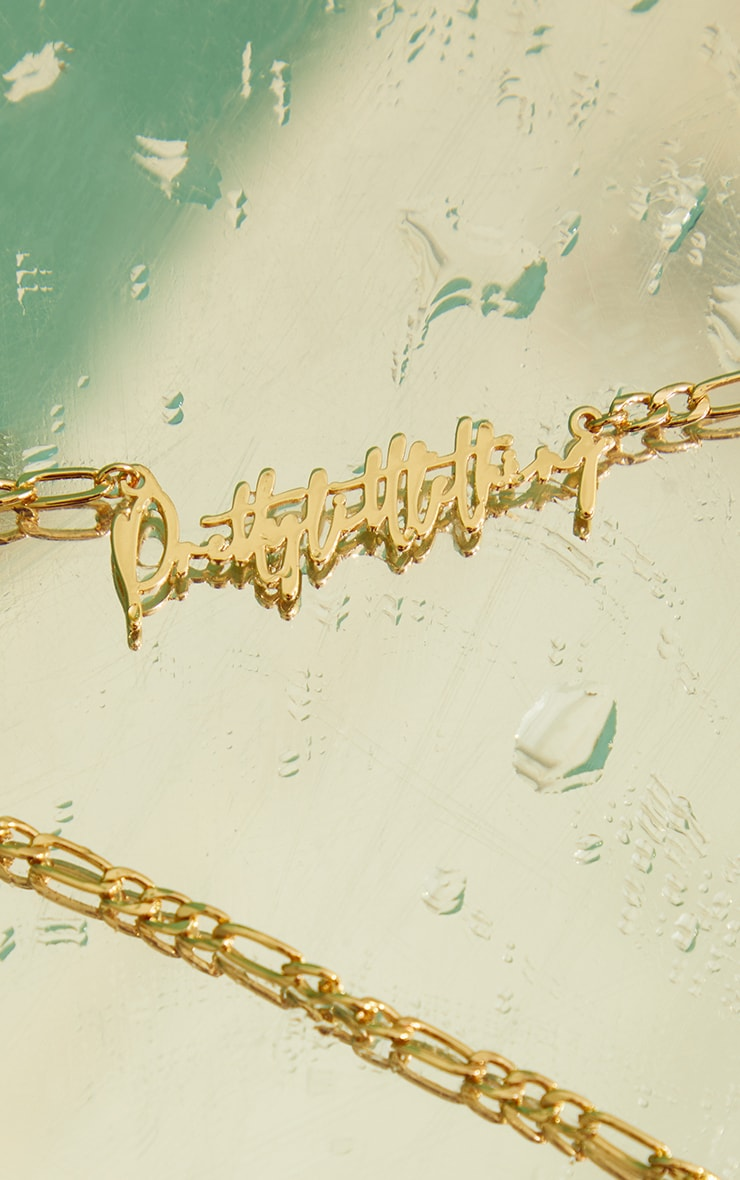 PRETTYLITTLETHING Gold Signature Necklace  4