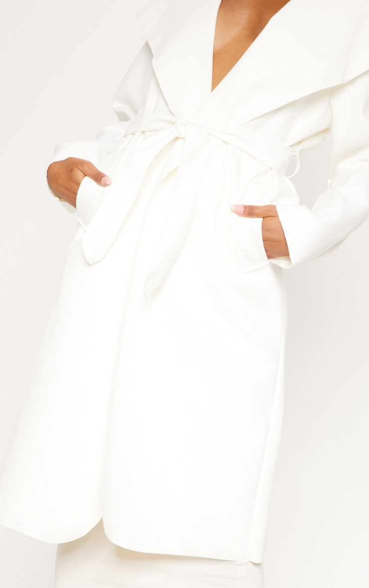 Veronica Cream Oversized Waterfall Belt Coat  5