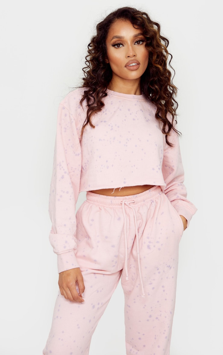 Petite Pink Acid Wash Paint Splatter Cropped Sweat 1