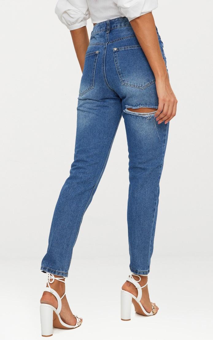 Mid Wash Bum Rip Straight Leg Jean 4