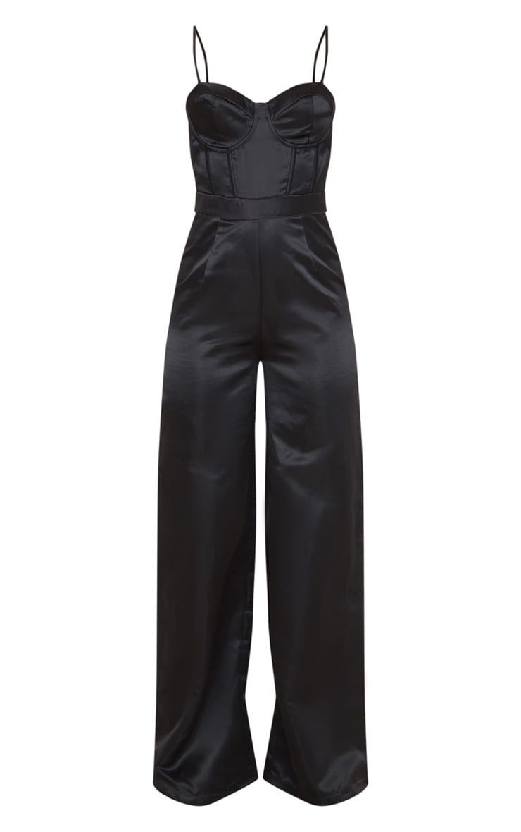 Black Satin Corset Strappy Jumpsuit 3