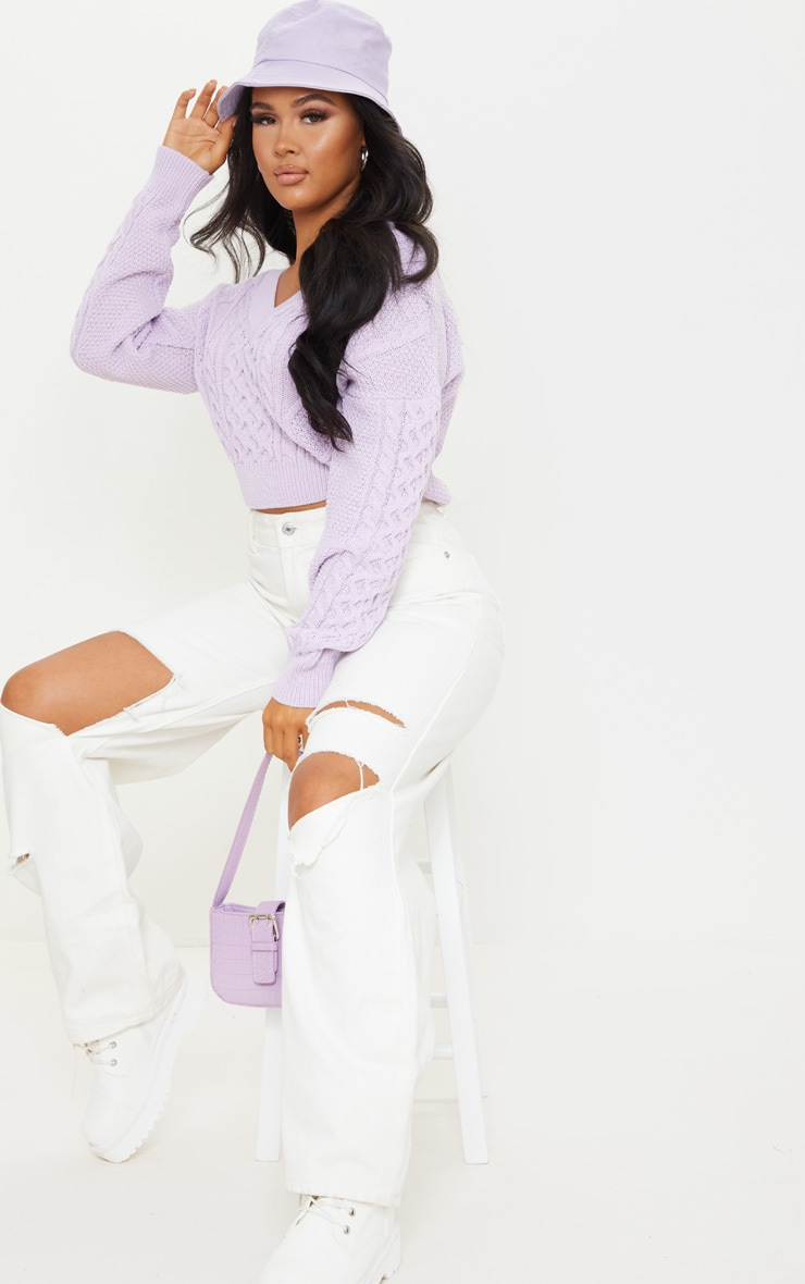 Lilac Cable Knit V Neck Crop Sweater 1