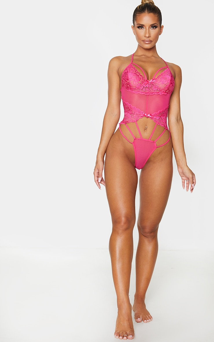 Hot Pink Strapping Detail Lace Body 3