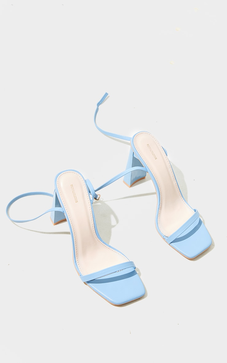 Pastel Blue PU Block Heel Barely There Sandals 4