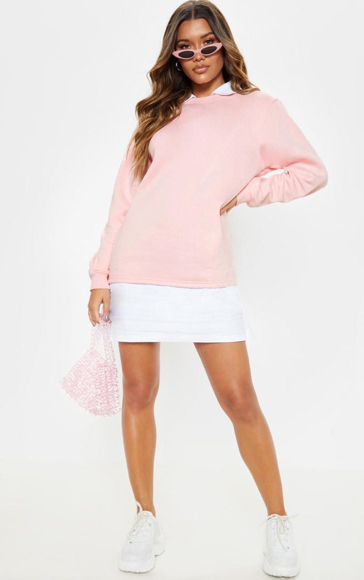 Baby Pink Shirt Collar Sweat Jumper Dress 1