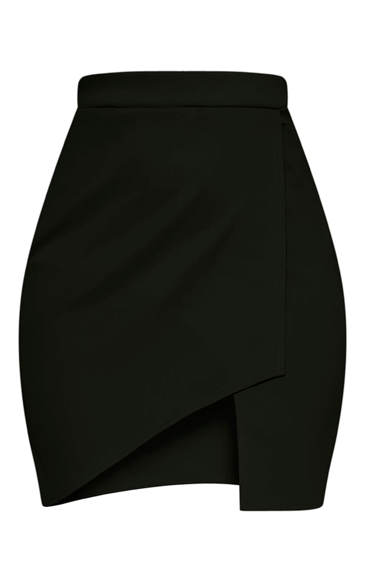 Marcella Black Asymmetric Wrap Mini Skirt 3