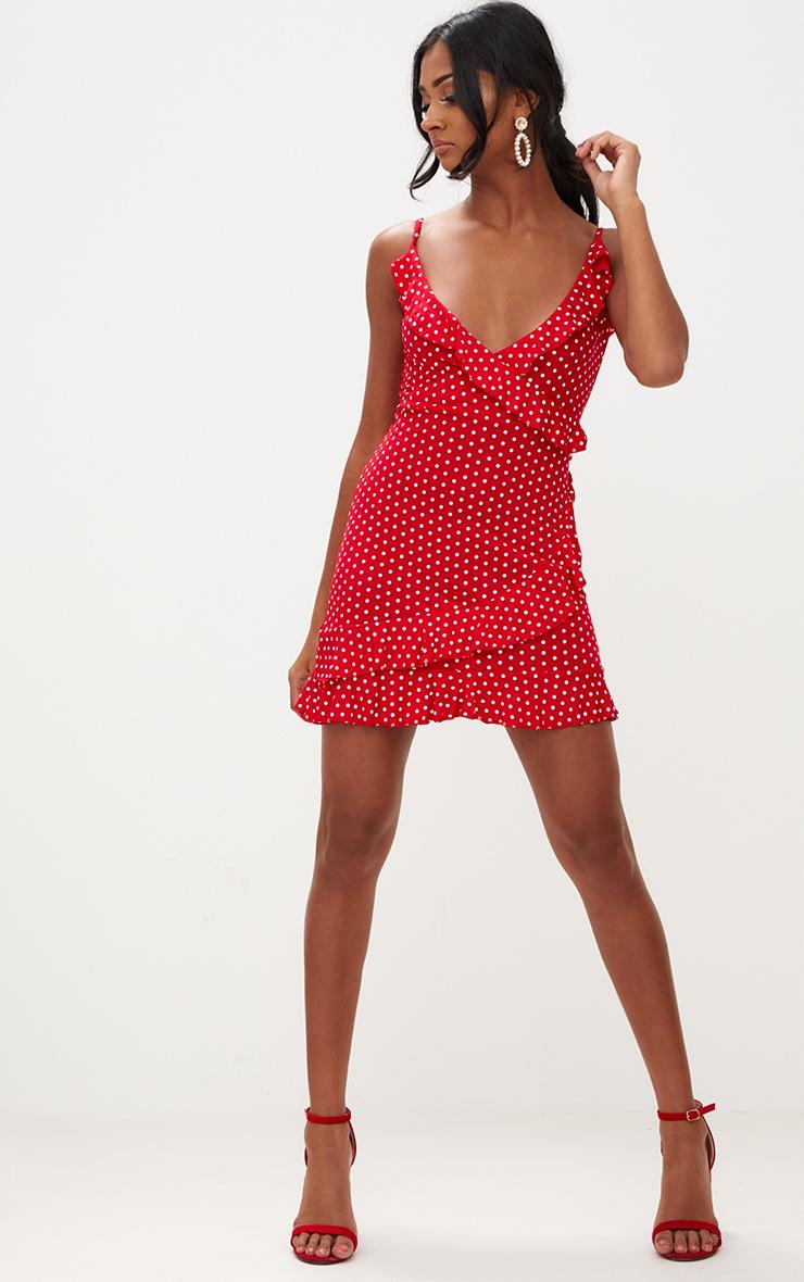 Red Polkadot Wrap Dress 4