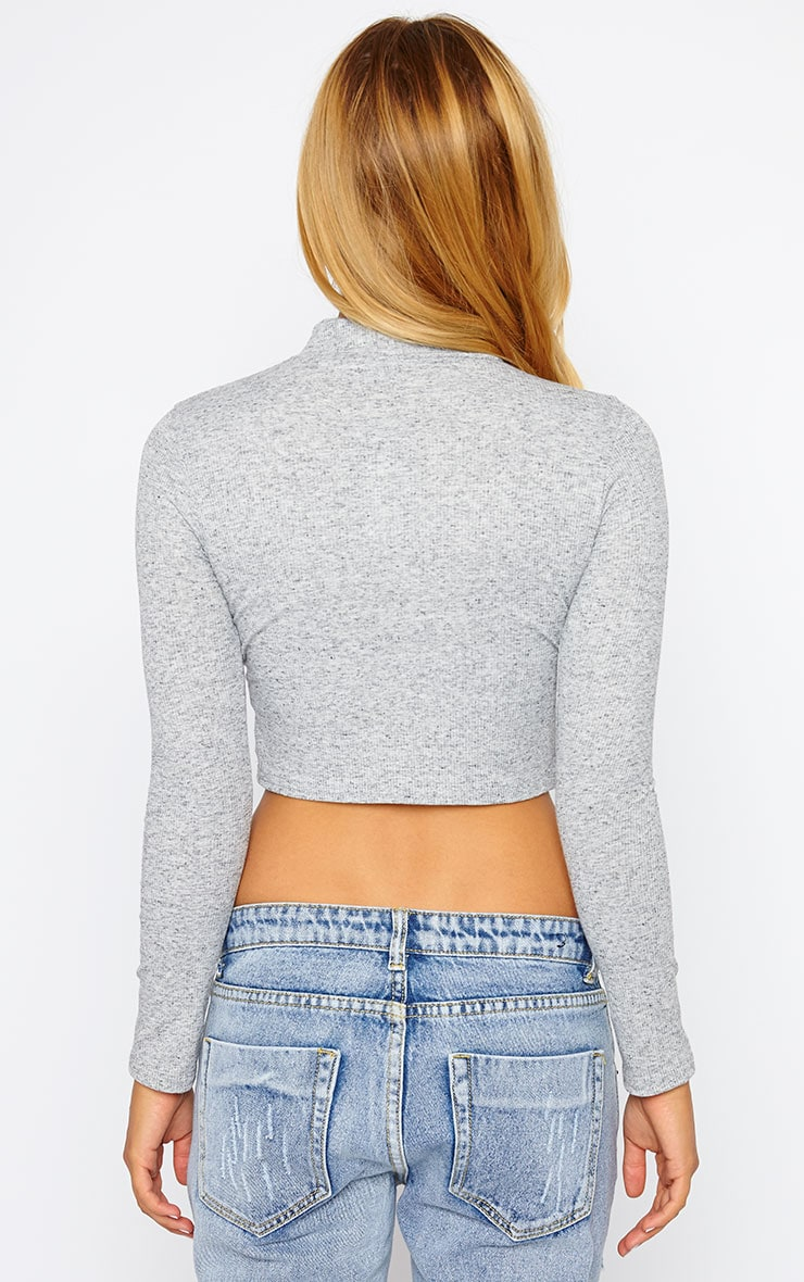 Basic Grey Ribbed High Neck Crop Top 2