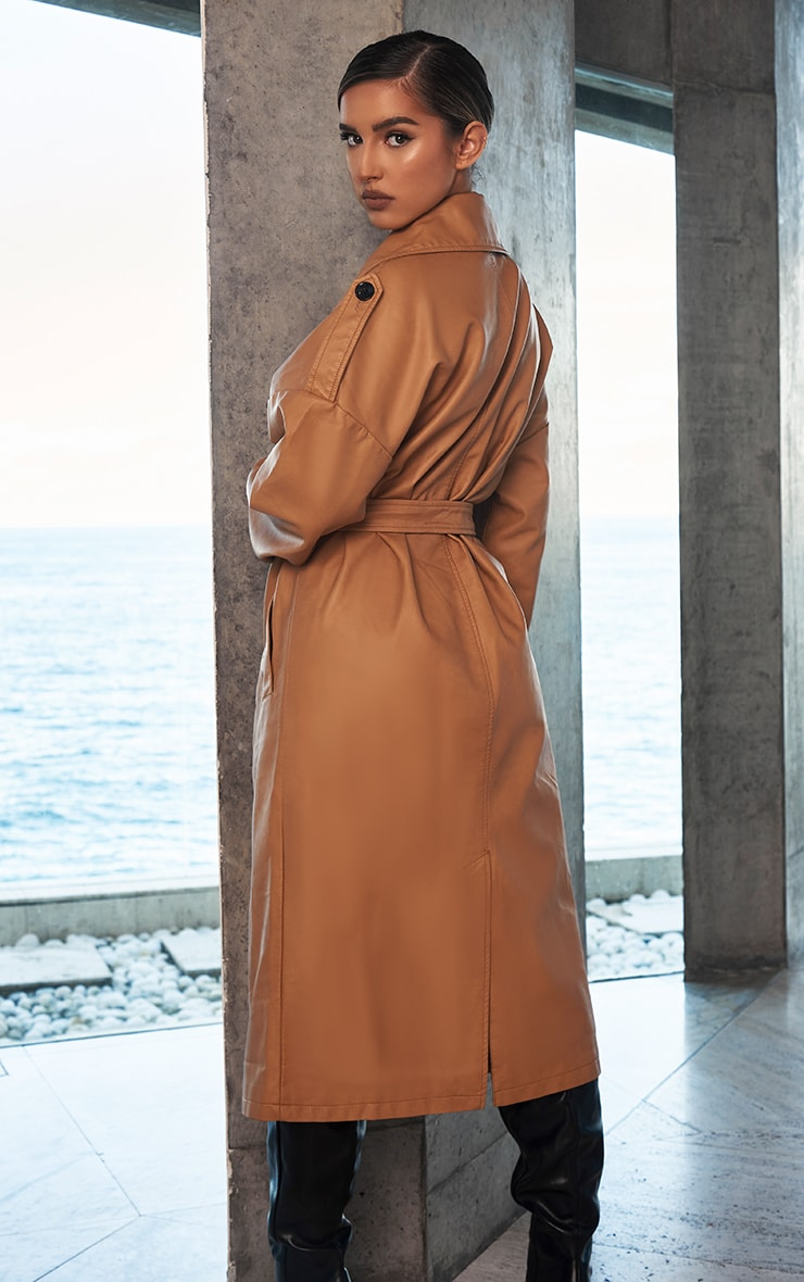 Camel Faux Leather Drop Arm Midi Trench 2