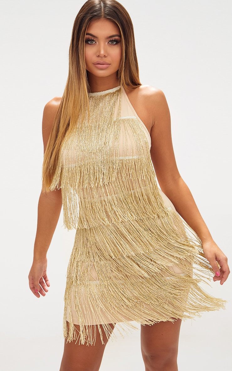 Gold Tassel Detail Halterneck Bodycon Dress 1