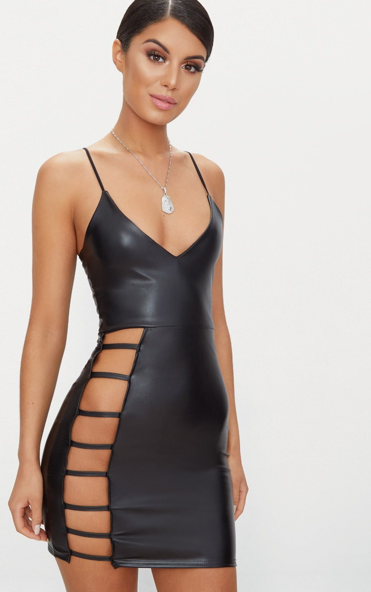 Black PU Extreme Split Bodycon Dress 1