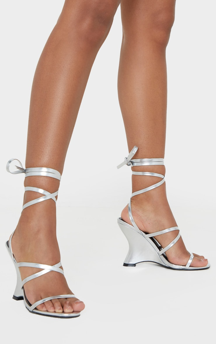 Silver Strappy Ankle Tie Up Wedge Sandal 2
