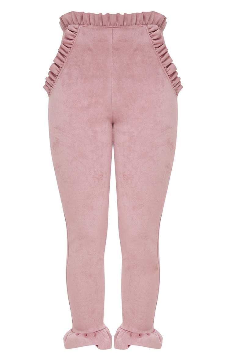 Rose Faux Suede Frill Trim Trousers 3