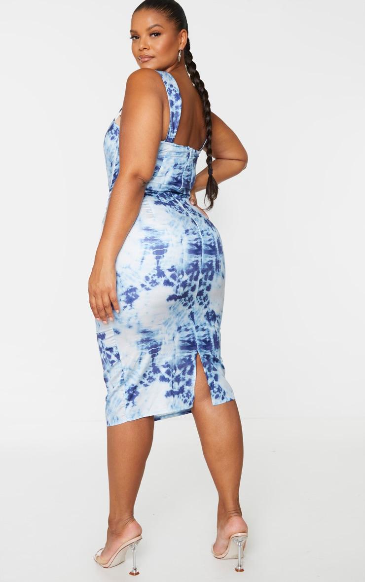 Plus Blue Tie Dye Corset Detail Midi Dress 2