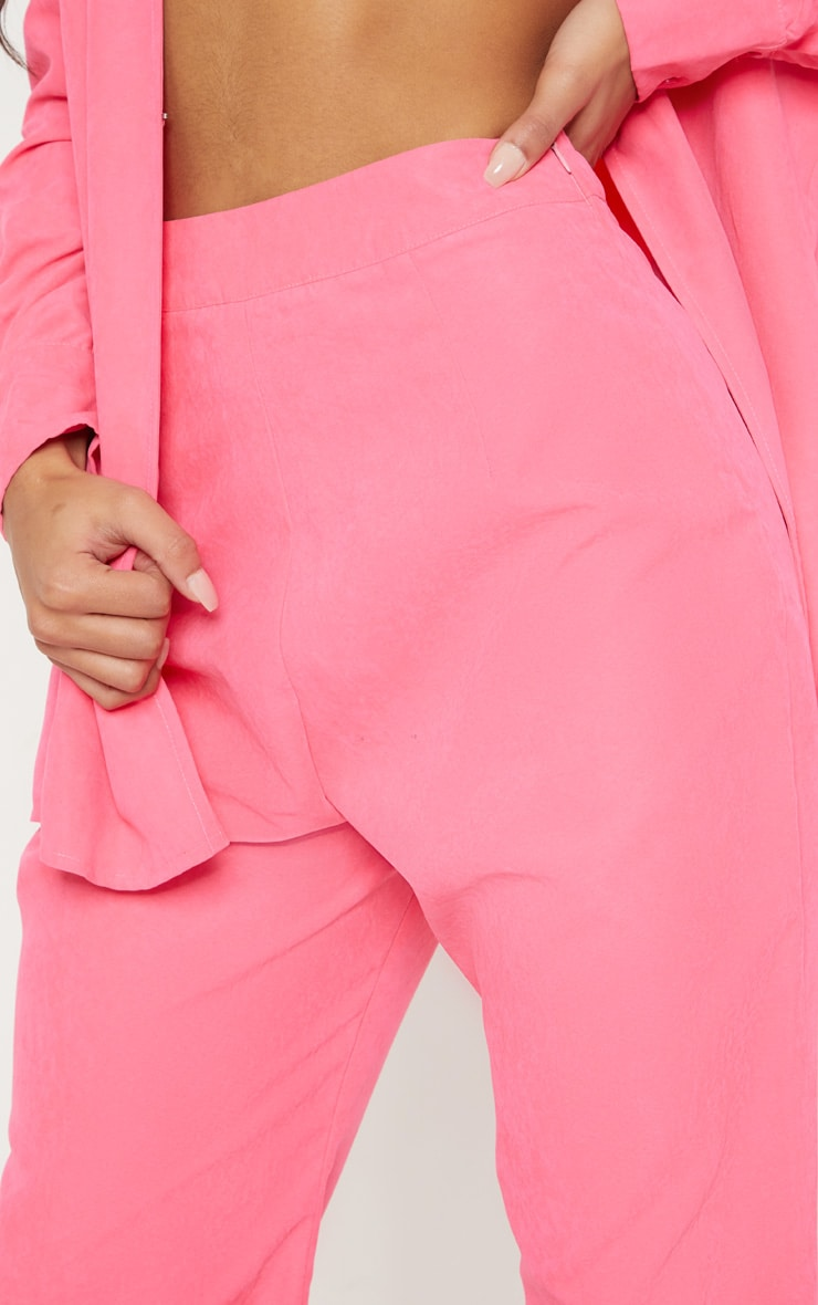 Hot Pink Faux Suede Wide Leg Trouser 5