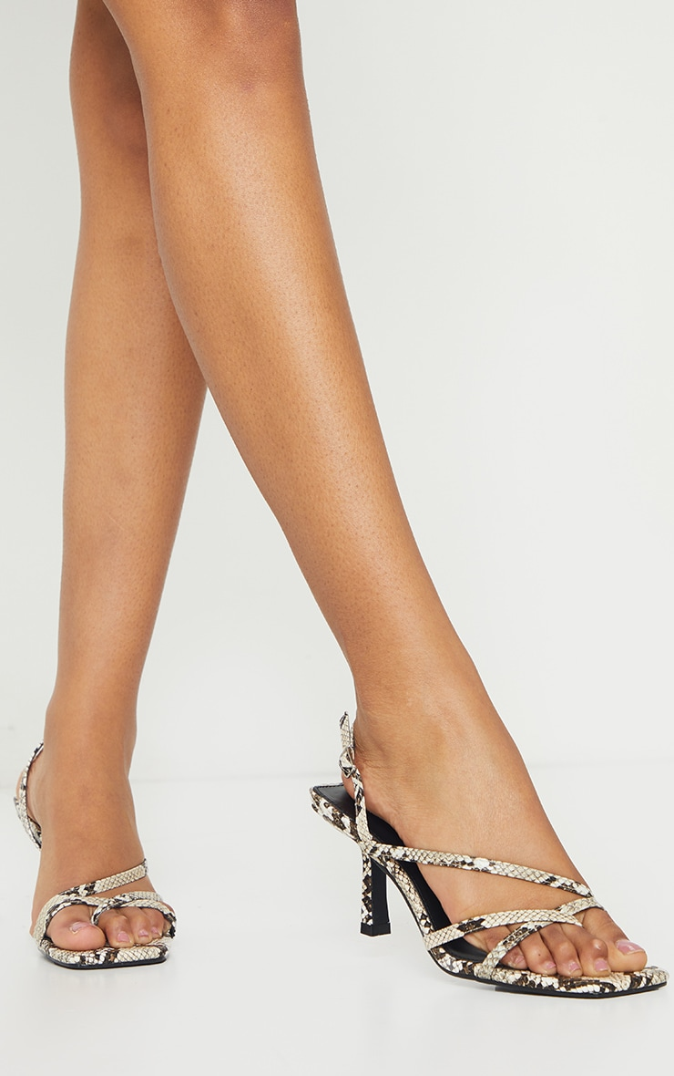 Snake Print Low Heel Strappy Sandals image 1