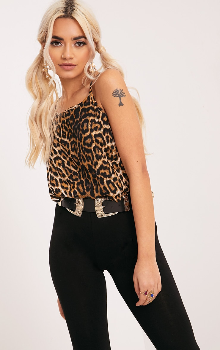 Theyda Tan Leopard Print Soft Cami Top 1