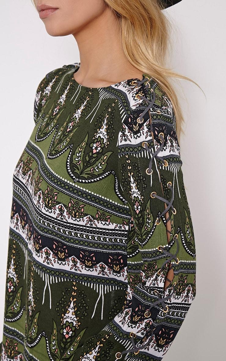 Electra Khaki Paisley Eyelet Detail Mini Dress 5