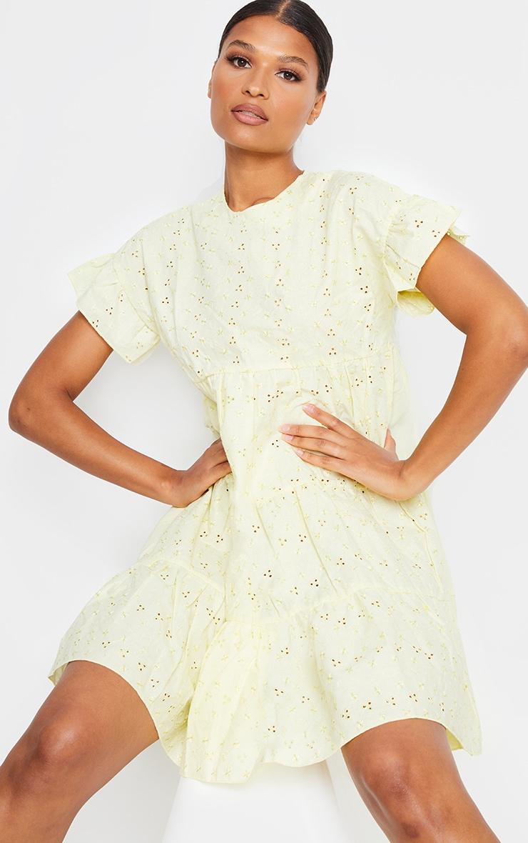 Lemon Broderie Anglaise Smock Dress 1
