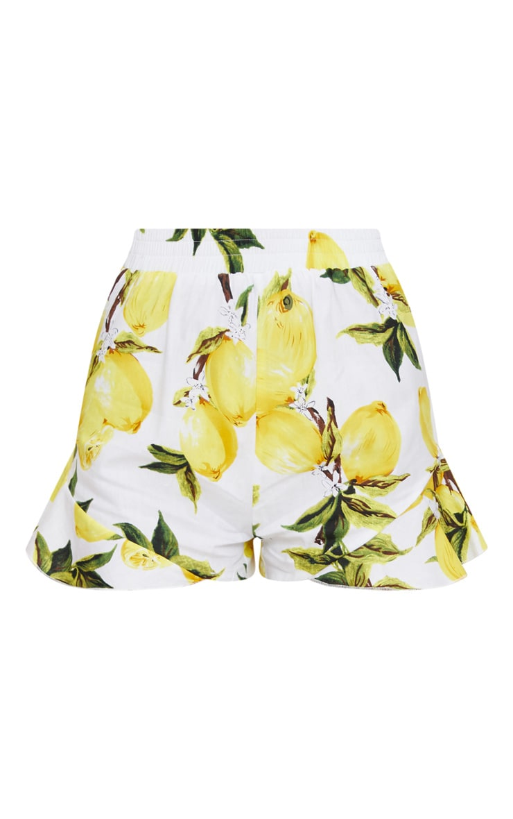 Cream Lemon Print Ruffle Shorts  3