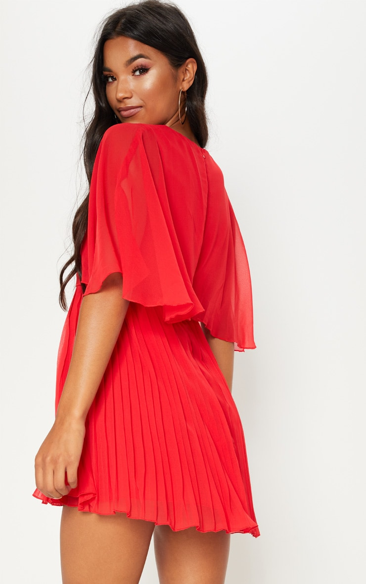 Red Cape Pleated Detail Skater Dress 2