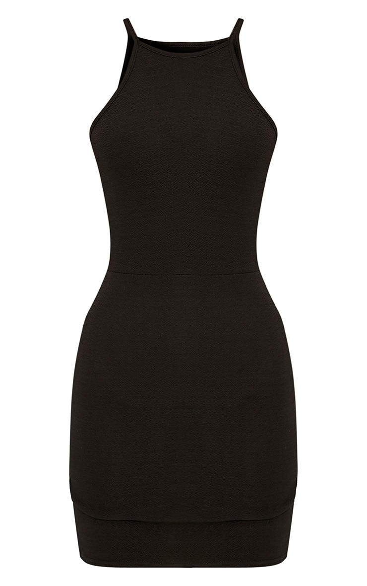 Petite Black High Neck Bodycon Mini Dress  3
