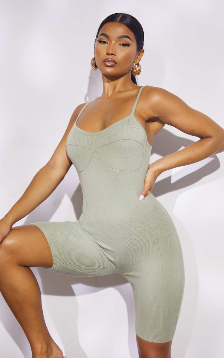 Sage Green Premium Ribbed Knitted Strappy Seam Detail Playsuit 1