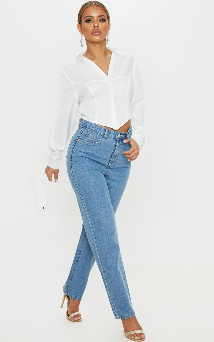 PRETTYLITTLETHING Petite Mid Blue Straight Leg Jeans 1