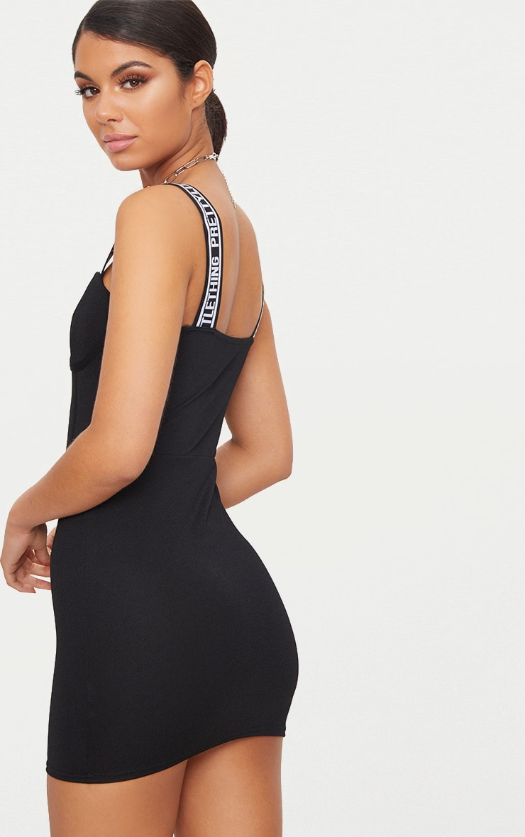 PRETTYLITTLETHING Black Strappy Cup Detail Bodycon Dress 2
