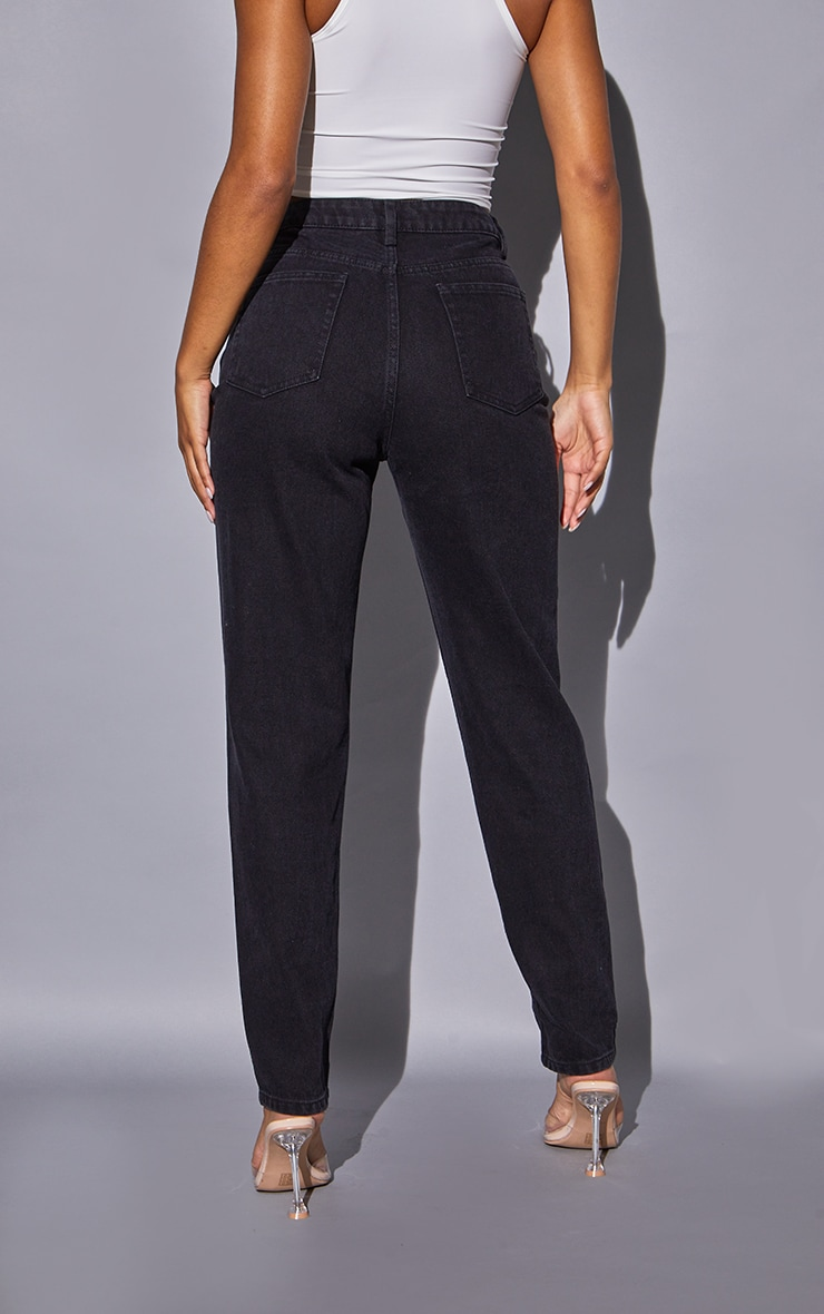 Recycled Black Basic Mom Jeans 3