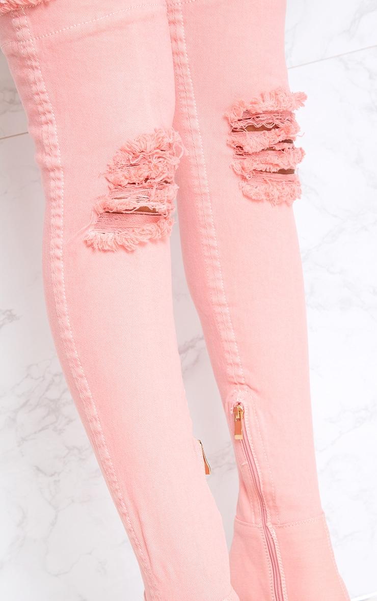 Pink Distressed Denim Thigh Boots 5