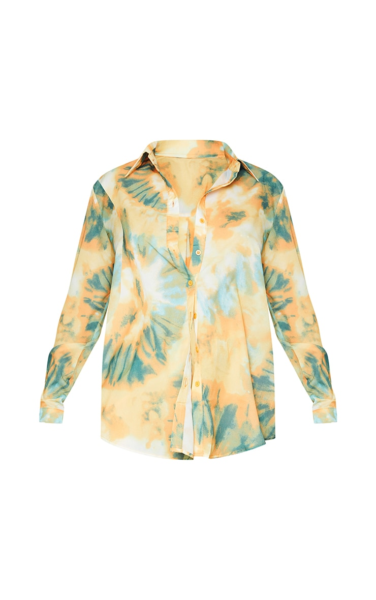 Orange Tie Dye Print Long Sleeve Oversized Shirt 5