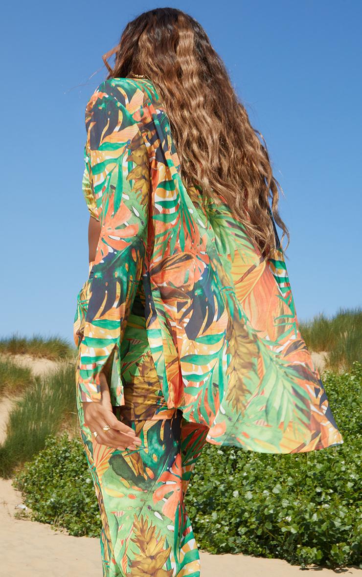 Green Leaf Printed Print Beach Shirt 2