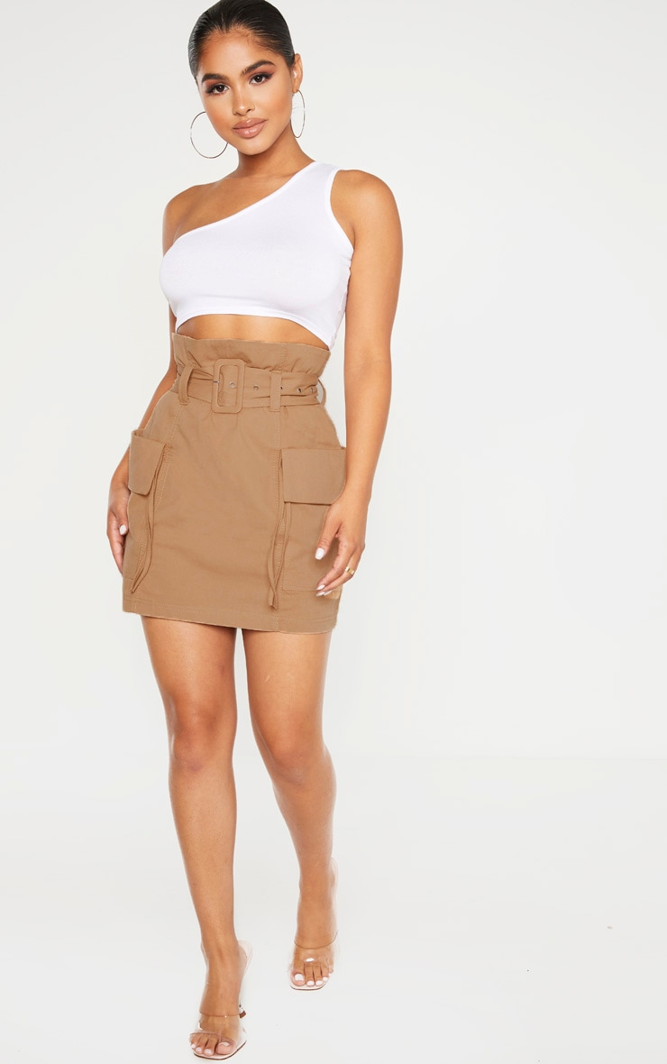 Petite Stone Belted Cargo Skirt 5
