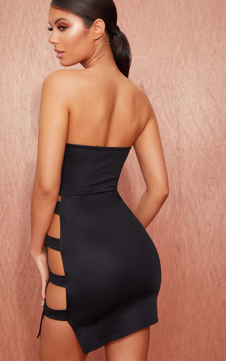 Black Bandeau Strappy Side Bodycon Dress 2