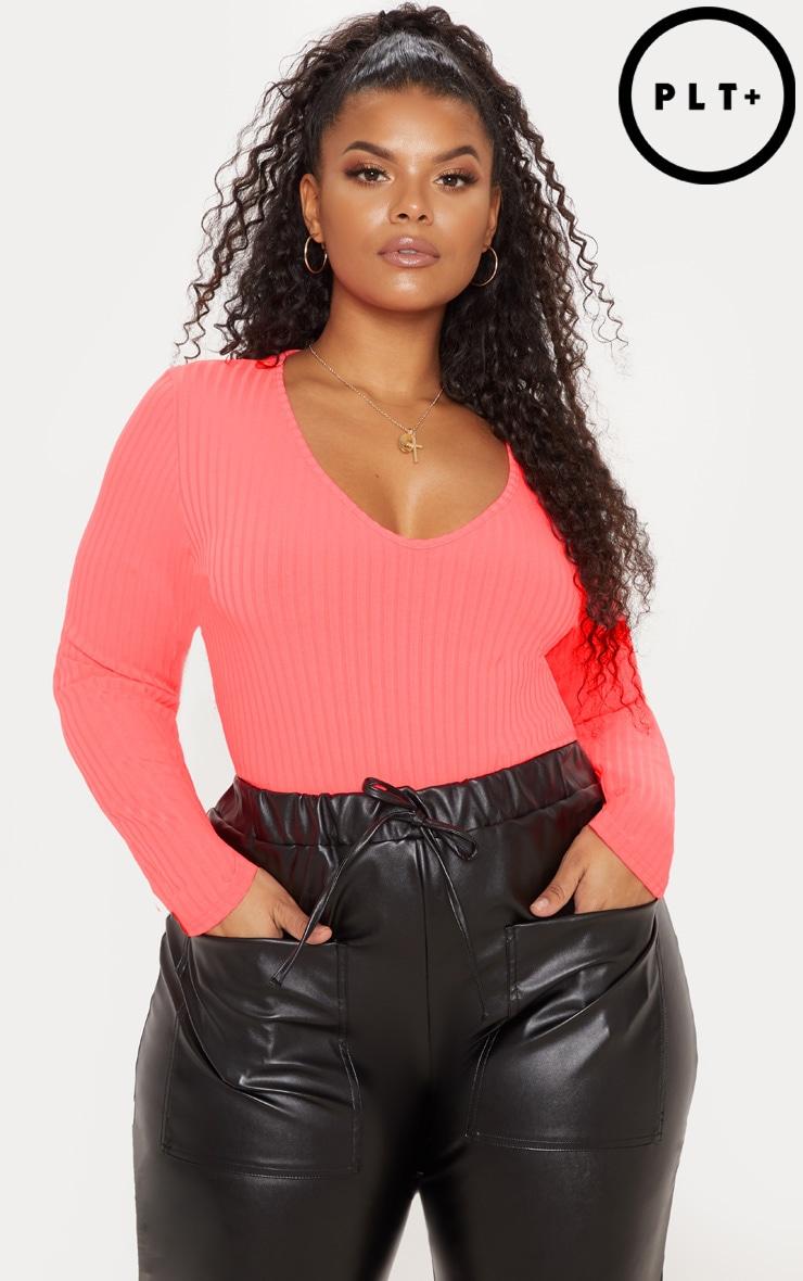 Plus Neon Pink Rib Long Sleeve Bodysuit 1