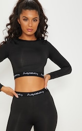 PRETTYLITTLETHING Black Band Long Sleeve Crop Top  6