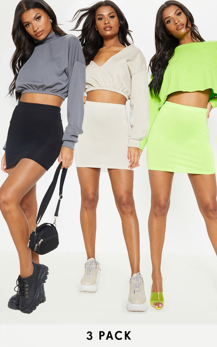 Neon Lime Stone & Black Basic Jersey Mini Skirt 3 Pack 1