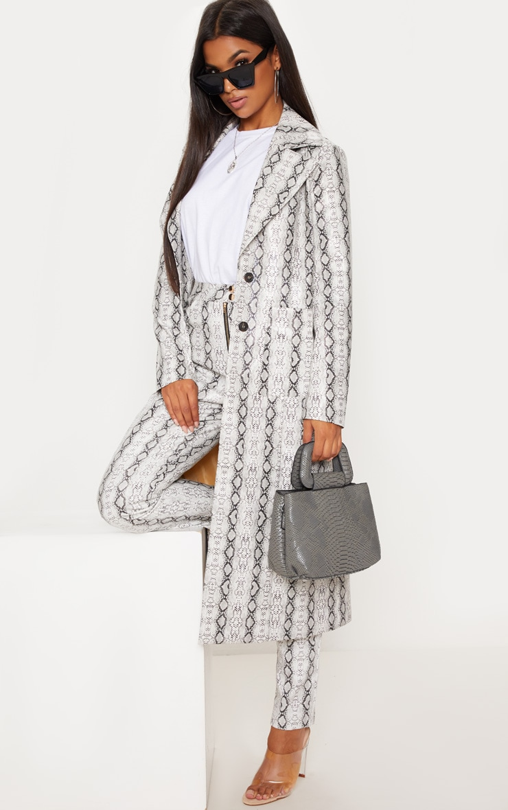 Grey Snake Print PU Trench
