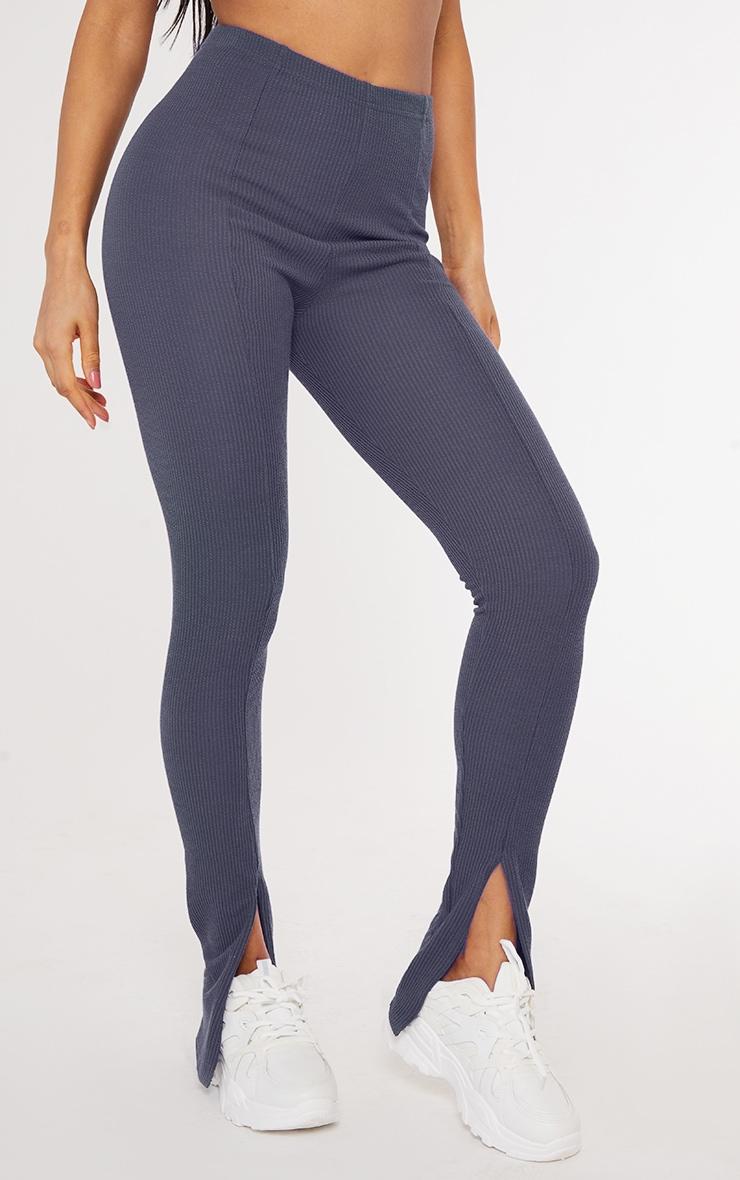 Petrol Blue Textured Rib Split Hem Skinny Pants 2