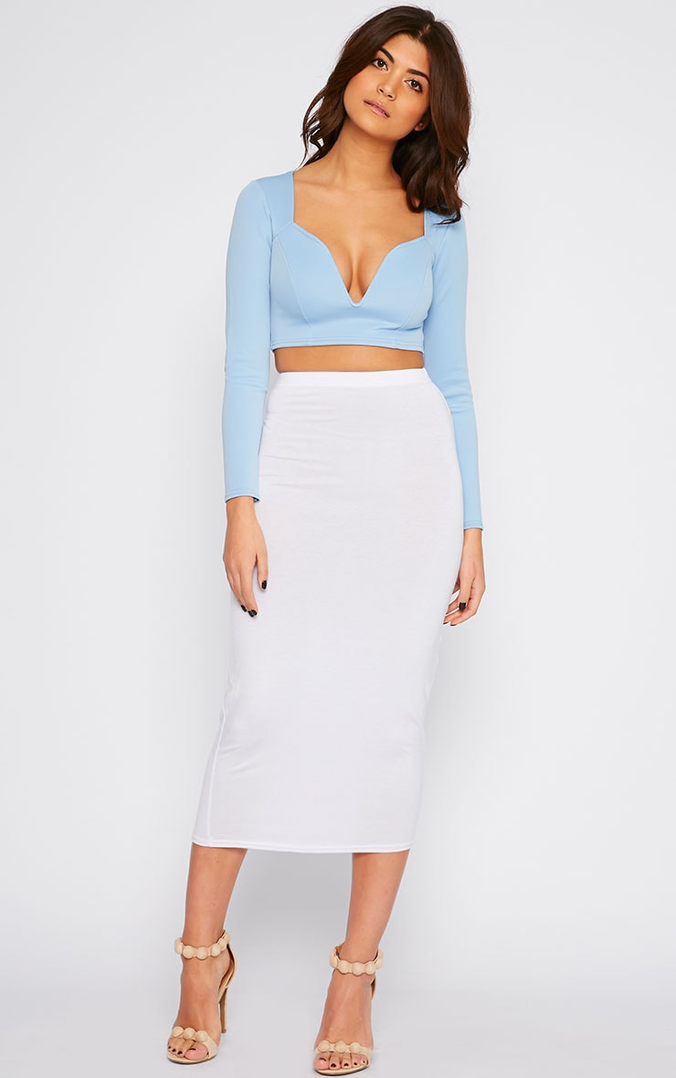 Basic White Longline Midi Skirt 1