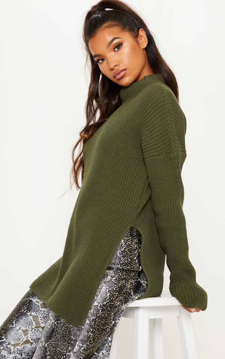 Olive High Neck Oversized Jumper  1