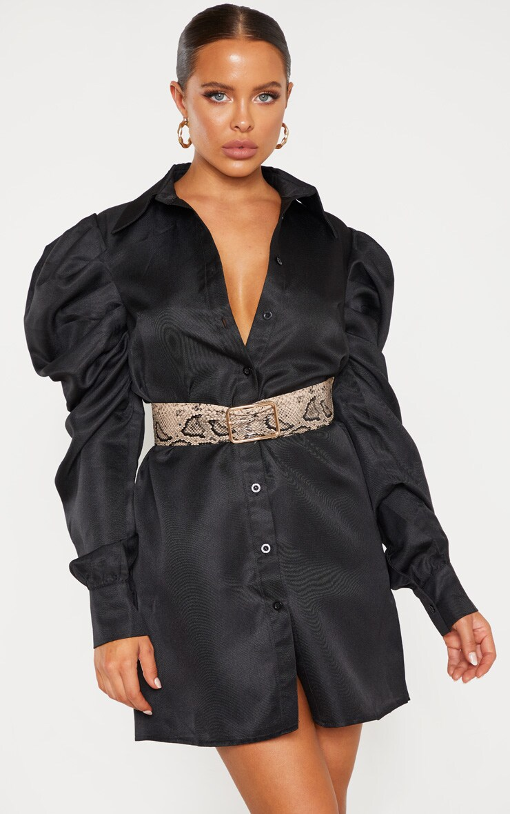 Black Puff Sleeve Shirt Dress 4