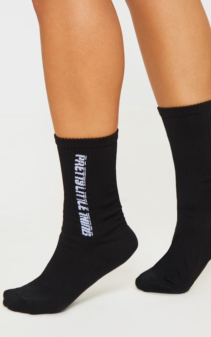 PRETTYLITTLETHING Black Logo Socks 1