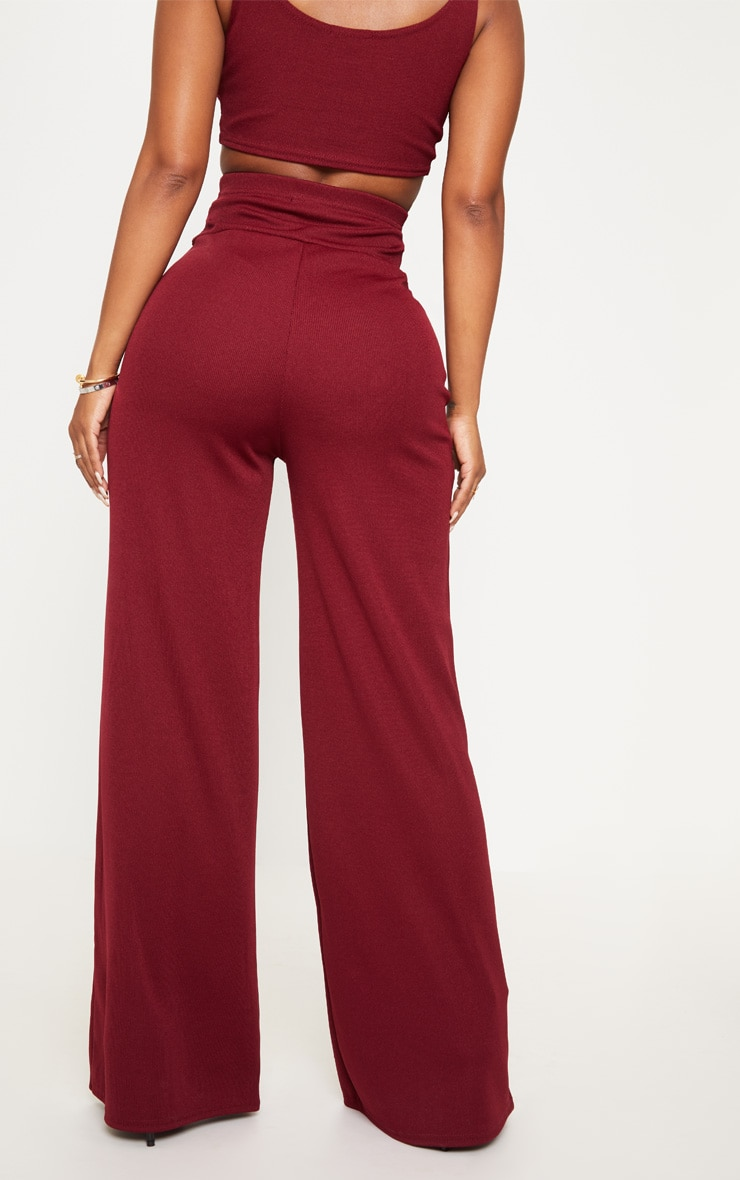 Shape Burgundy Bandage Extreme High Waist Wide Leg Pants 4