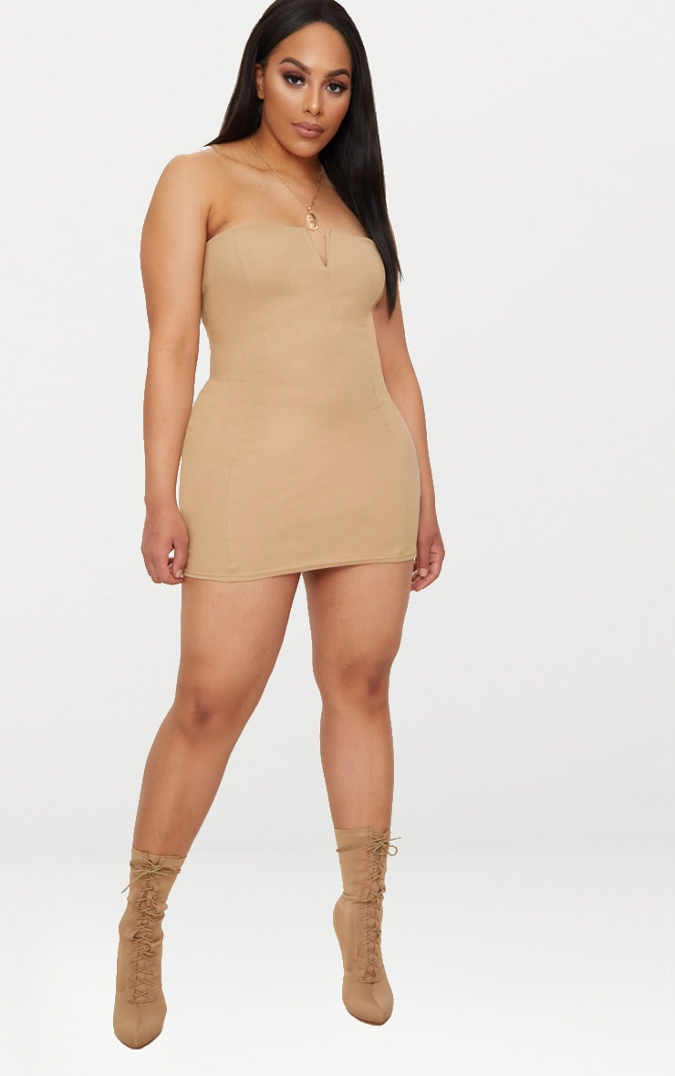Plus Camel Second Skin Ribbed Bandeau Bodycon Dress 4