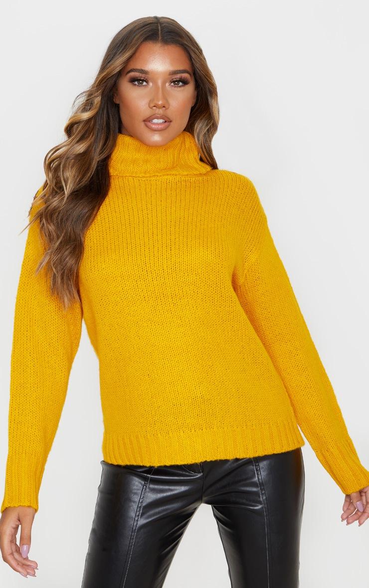 Mustard Roll Neck Chunky Knit Sweater 5